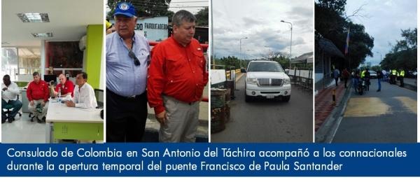 Consulado de Colombia en San Antonio del Táchira acompañó a los connacionales durante la apertura temporal del puente Francisco de Paula Santander