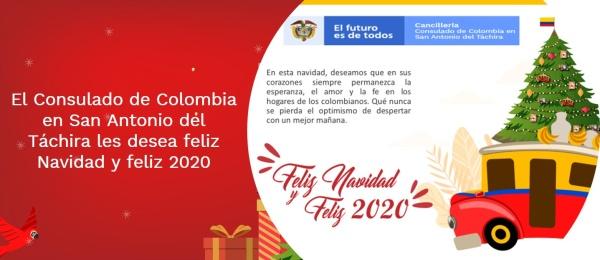 El Consulado de Colombia en San Antonio del Táchira les desea feliz Navidad y feliz 2020